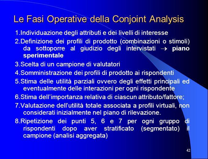 42 Le Fasi Operative della Conjoint Analysis 1.Individuazione degli attributi e dei livelli di interesse 2.Definizione dei profili di prodotto (combin