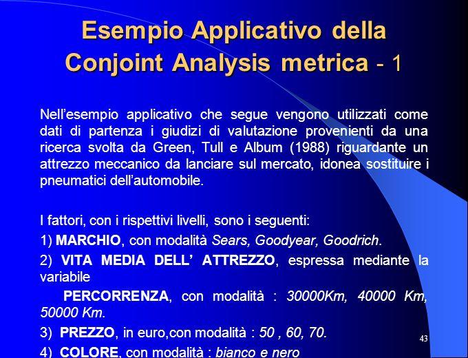 43 Esempio Applicativo della Conjoint Analysis metrica - 1 Nellesempio applicativo che segue vengono utilizzati come dati di partenza i giudizi di val