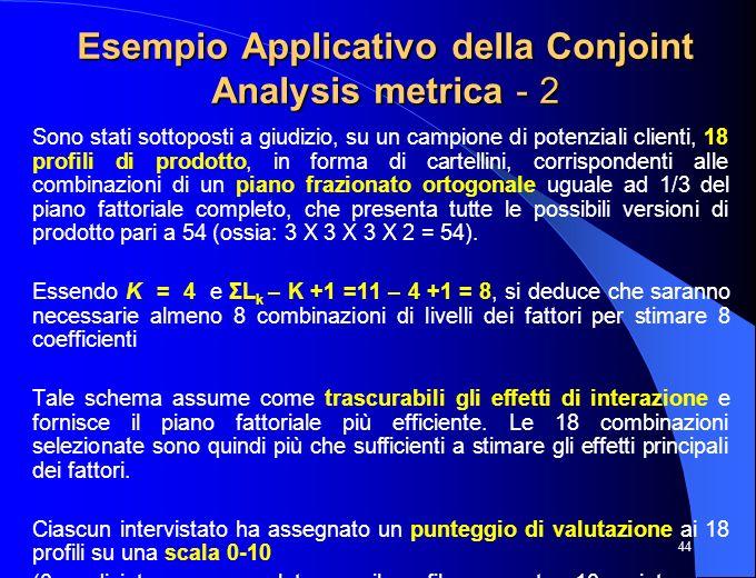 44 Esempio Applicativo della Conjoint Analysis metrica - 2 Sono stati sottoposti a giudizio, su un campione di potenziali clienti, 18 profili di prodo