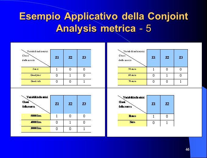 46 Esempio Applicativo della Conjoint Analysis metrica - 5