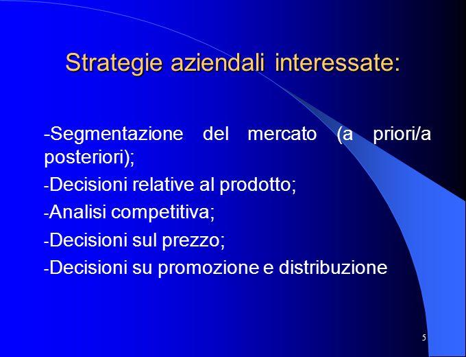 5 Strategie aziendali interessate: -Segmentazione del mercato (a priori/a posteriori); - Decisioni relative al prodotto; - Analisi competitiva; - Deci