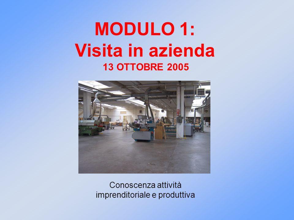 MODULO 1: Visita in azienda 13 OTTOBRE 2005 Conoscenza attività imprenditoriale e produttiva