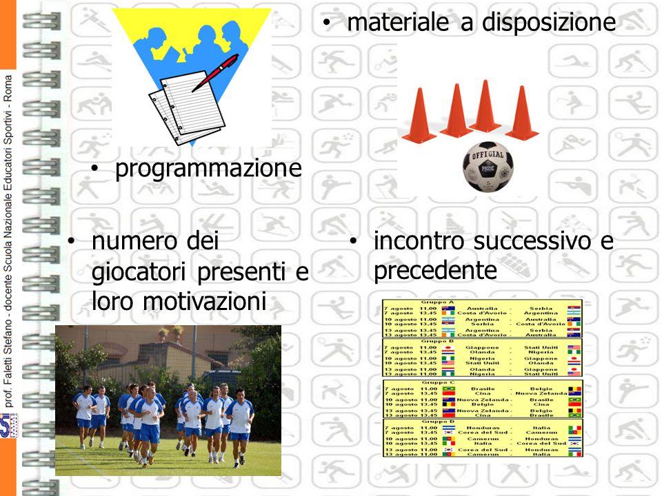 programmazione materiale a disposizione numero dei giocatori presenti e loro motivazioni incontro successivo e precedente