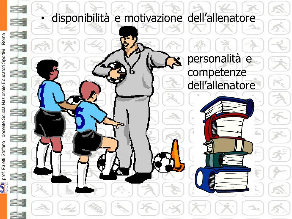 disponibilità e motivazione dellallenatore personalità e competenze dellallenatore