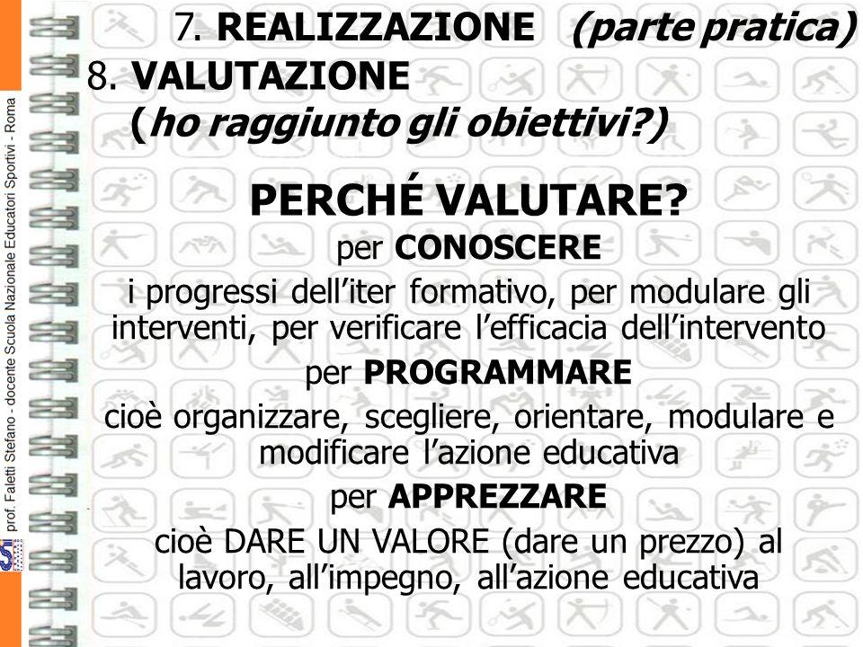 7.REALIZZAZIONE (parte pratica) 8. VALUTAZIONE (ho raggiunto gli obiettivi?) PERCHÉ VALUTARE.
