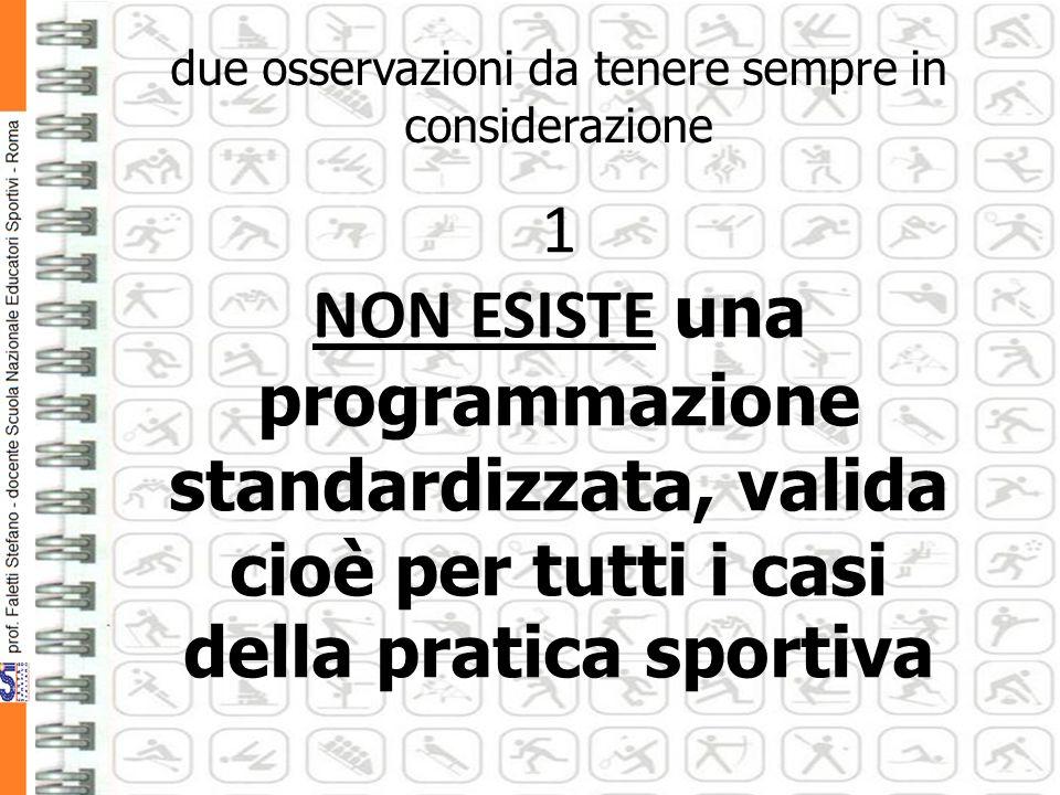 due osservazioni da tenere sempre in considerazione 1 NON ESISTE una programmazione standardizzata, valida cioè per tutti i casi della pratica sportiva