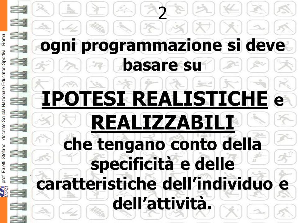 2 ogni programmazione si deve basare su IPOTESI REALISTICHE e REALIZZABILI che tengano conto della specificità e delle caratteristiche dellindividuo e dellattività.