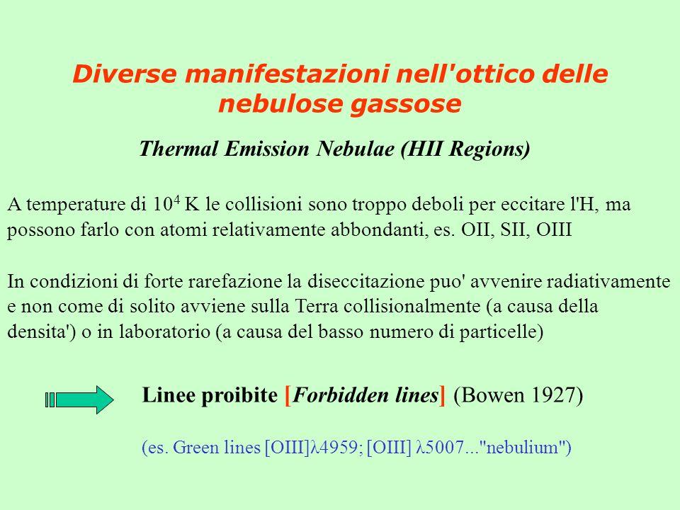 Diverse manifestazioni nell'ottico delle nebulose gassose Thermal Emission Nebulae (HII Regions) A temperature di 10 4 K le collisioni sono troppo deb