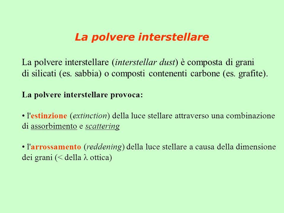 La polvere interstellare La polvere interstellare (interstellar dust) è composta di grani di silicati (es. sabbia) o composti contenenti carbone (es.