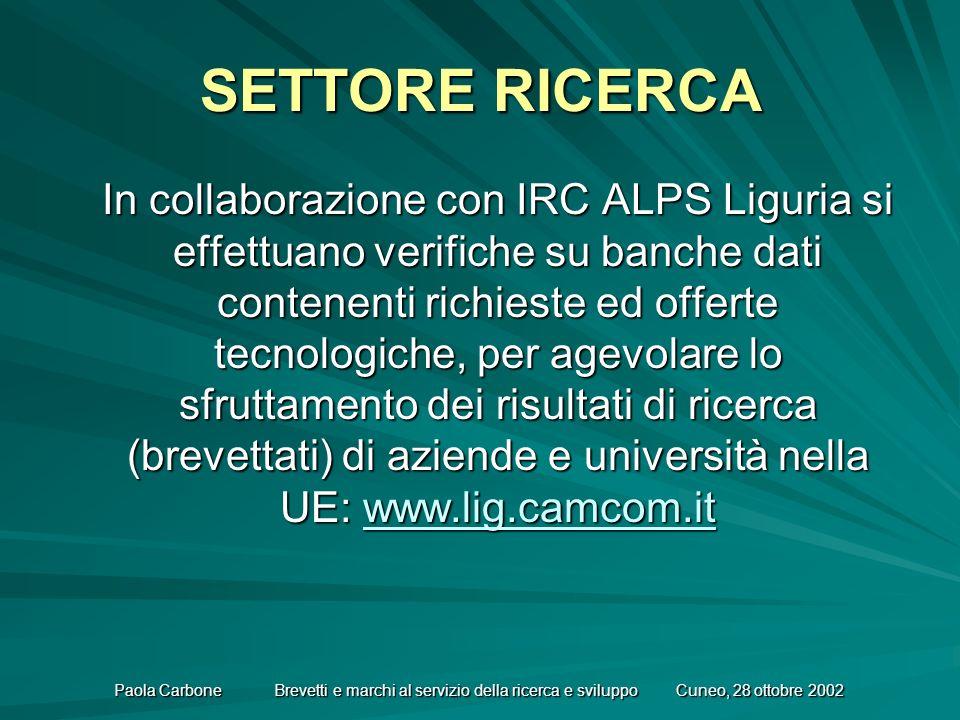 Paola Carbone Brevetti e marchi al servizio della ricerca e sviluppo Cuneo, 28 ottobre 2002 SETTORE RICERCA In collaborazione con IRC ALPS Liguria si effettuano verifiche su banche dati contenenti richieste ed offerte tecnologiche, per agevolare lo sfruttamento dei risultati di ricerca (brevettati) di aziende e università nella UE: www.lig.camcom.it www.lig.camcom.it