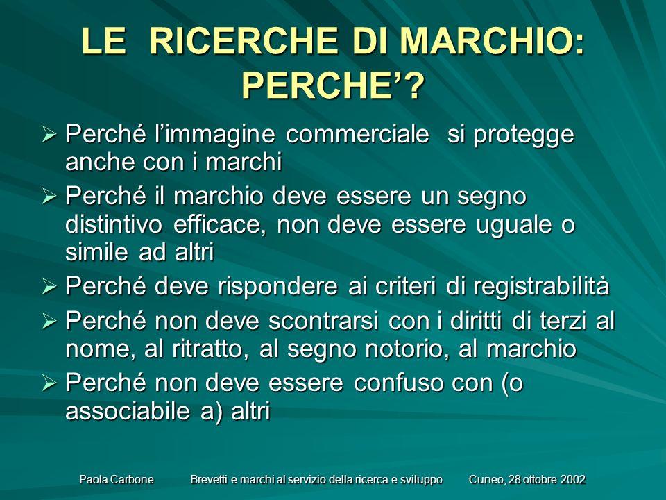 Paola Carbone Brevetti e marchi al servizio della ricerca e sviluppo Cuneo, 28 ottobre 2002 LE RICERCHE DI MARCHIO: PERCHE.