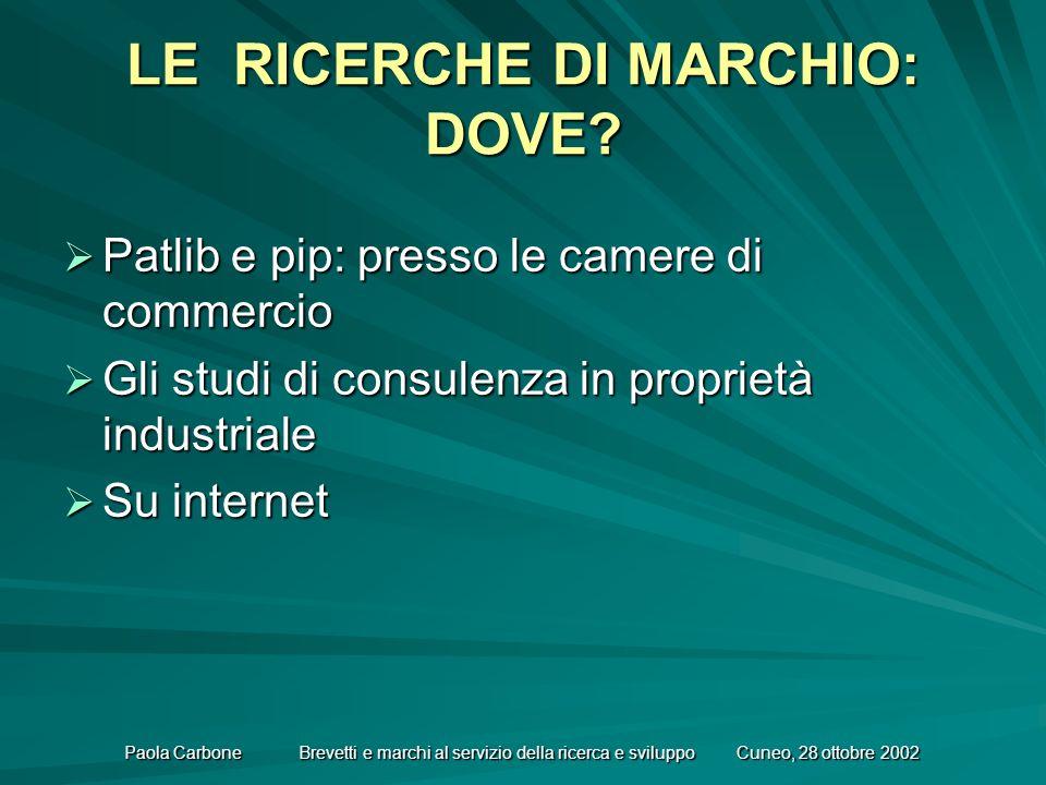 Paola Carbone Brevetti e marchi al servizio della ricerca e sviluppo Cuneo, 28 ottobre 2002 LE RICERCHE DI MARCHIO: DOVE.