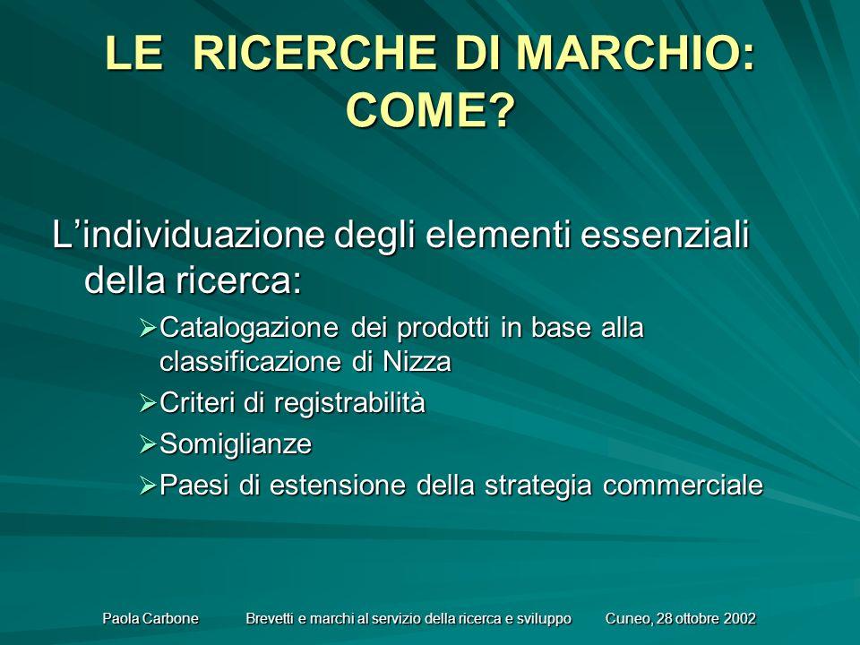 Paola Carbone Brevetti e marchi al servizio della ricerca e sviluppo Cuneo, 28 ottobre 2002 LE RICERCHE DI MARCHIO: COME.