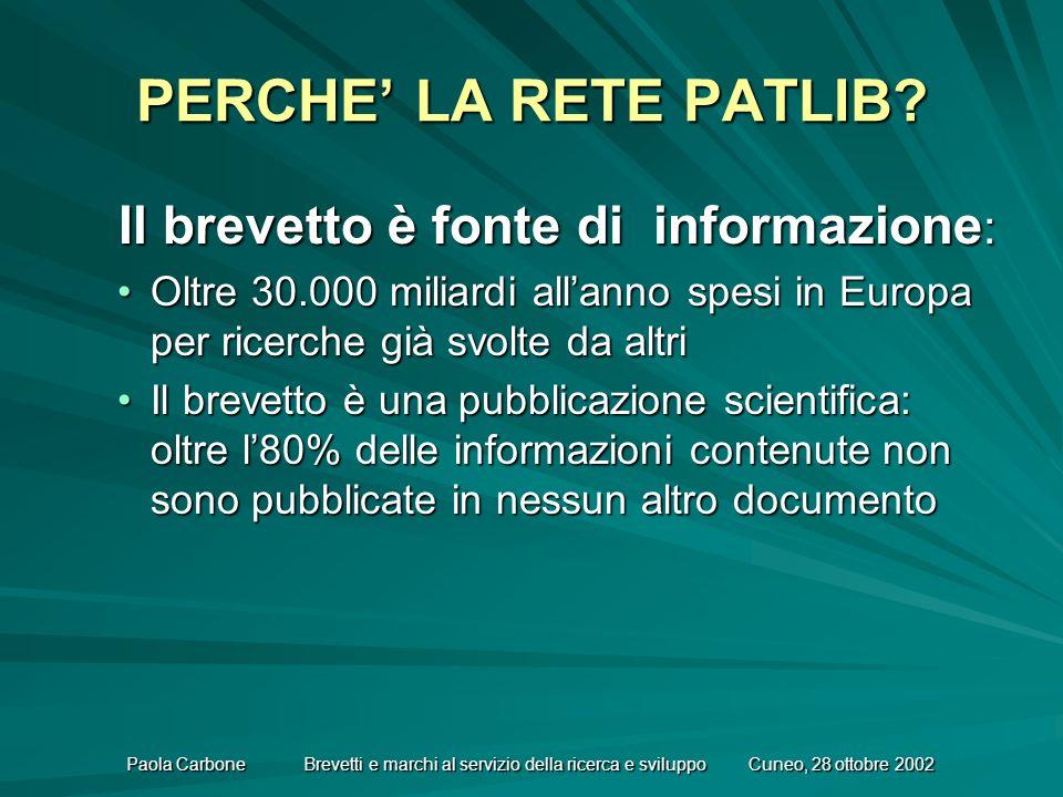 Paola Carbone Brevetti e marchi al servizio della ricerca e sviluppo Cuneo, 28 ottobre 2002 PERCHE LA RETE PATLIB.