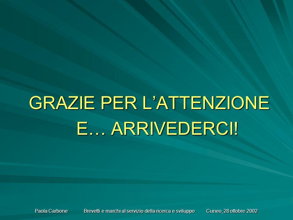 Paola Carbone Brevetti e marchi al servizio della ricerca e sviluppo Cuneo, 28 ottobre 2002 GRAZIE PER LATTENZIONE E… ARRIVEDERCI!