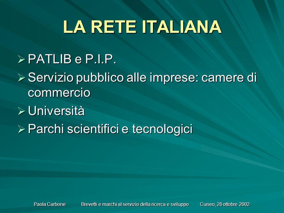 Paola Carbone Brevetti e marchi al servizio della ricerca e sviluppo Cuneo, 28 ottobre 2002 LA RETE ITALIANA PATLIB e P.I.P.