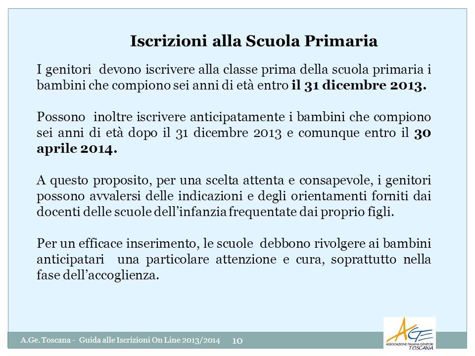 A.Ge. Toscana - Guida alle Iscrizioni On Line 2013/2014 10 I genitori devono iscrivere alla classe prima della scuola primaria i bambini che compiono