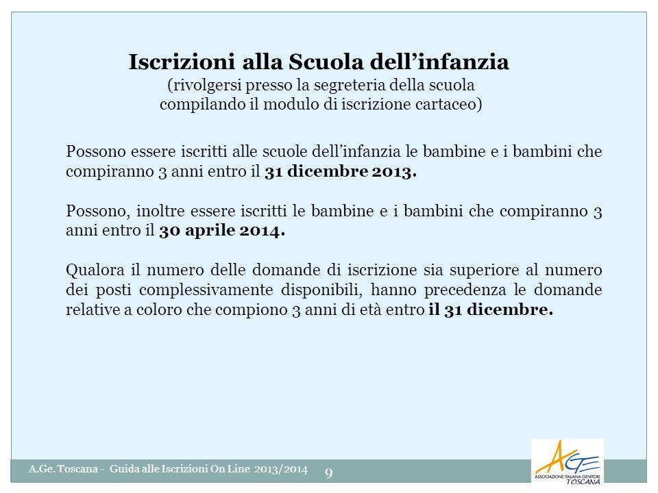 A.Ge. Toscana - Guida alle Iscrizioni On Line 2013/2014 9 Possono essere iscritti alle scuole dellinfanzia le bambine e i bambini che compiranno 3 ann