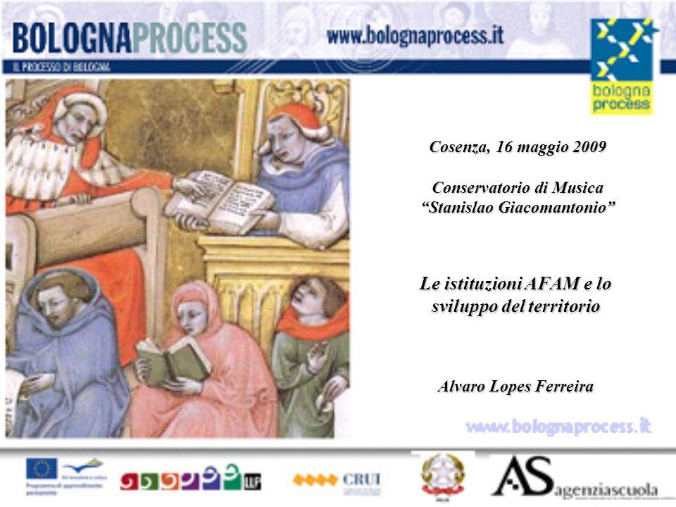 Le istituzioni AFAM e lo sviluppo del territorio Alvaro Lopes Ferreira Cosenza, 16 maggio 2009 Conservatorio di Musica Stanislao Giacomantonio www.bolognaprocess.i t