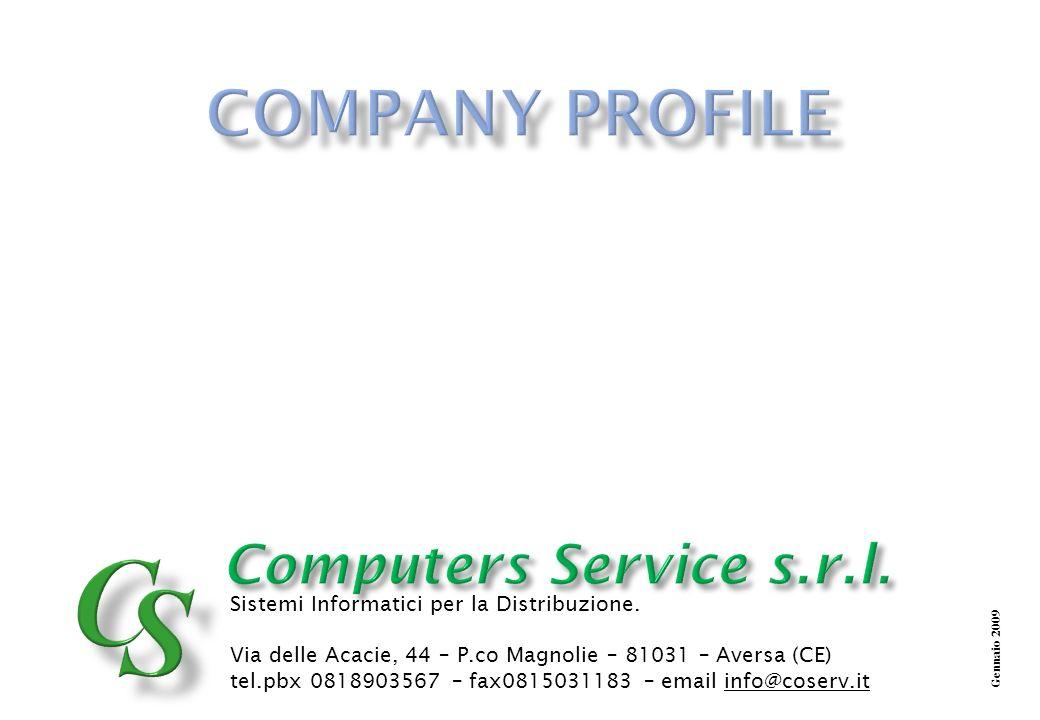 Computers Service Gli obiettivi che Computers Service si è fissata, e che saranno raggiunti nel breve e medio periodo sono gli stessi elementi che lhanno caratterizzata: ACQUISIZIONE NUOVI CLIENTI DI TARGET MEDIO ALTO ACQUISIZIONE NUOVI CLIENTI DI TARGET MEDIO ALTO SUPPORTO ALLE MIGRAZIONI VERSO FRONT END EVOLUTI SUPPORTO ALLE MIGRAZIONI VERSO FRONT END EVOLUTI APPROCCIO DI TIPO CONSULENZIALE PER LA PIANIFICAZIONE DELLE STRATEGIE DIMPRESA APPROCCIO DI TIPO CONSULENZIALE PER LA PIANIFICAZIONE DELLE STRATEGIE DIMPRESA INVESTIRE IN SISTEMI INNOVATIVI INVESTIRE IN SISTEMI INNOVATIVI INVESTIRE IN FORMAZIONE INVESTIRE IN FORMAZIONE Computers Service Gli accordi in essere con partner di levatura internazionale, produttori di specifiche soluzioni verticali per il mercato retail fanno di Computers Service una realtà che offre la massima garanzia in termini di continuità di investimenti e di soluzioni sempre allavanguardia.