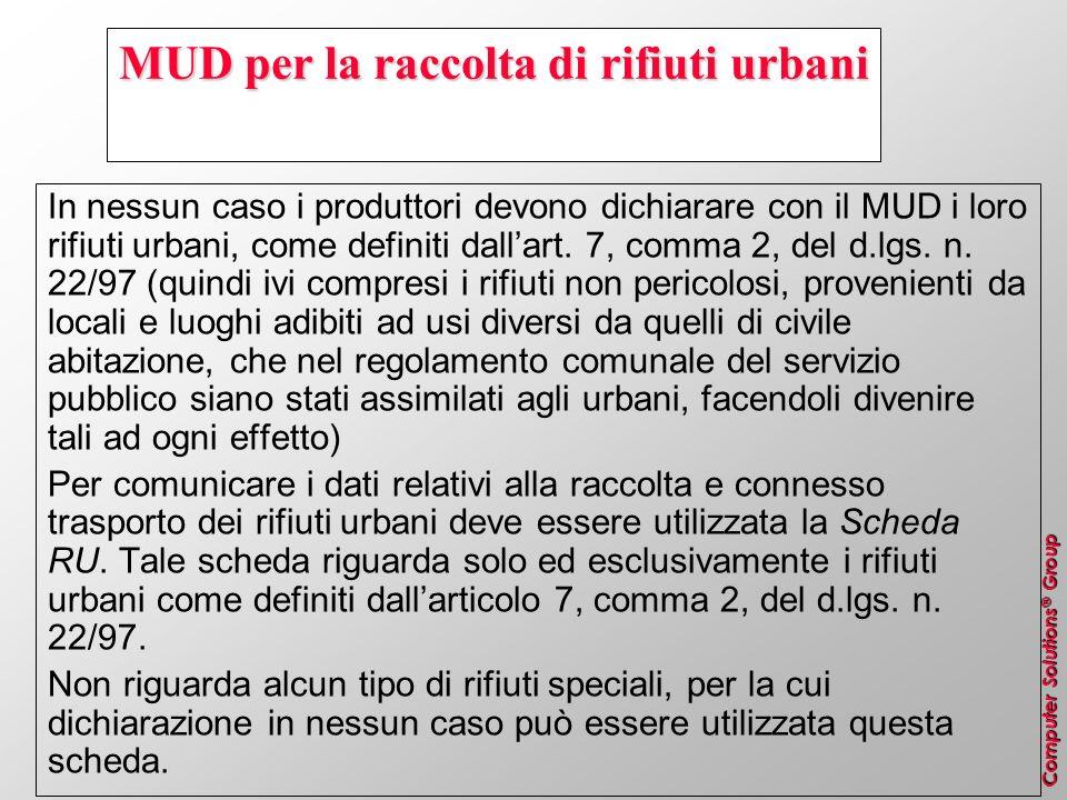 Computer Solutions ® Group MUD per la raccolta di rifiuti urbani In nessun caso i produttori devono dichiarare con il MUD i loro rifiuti urbani, come