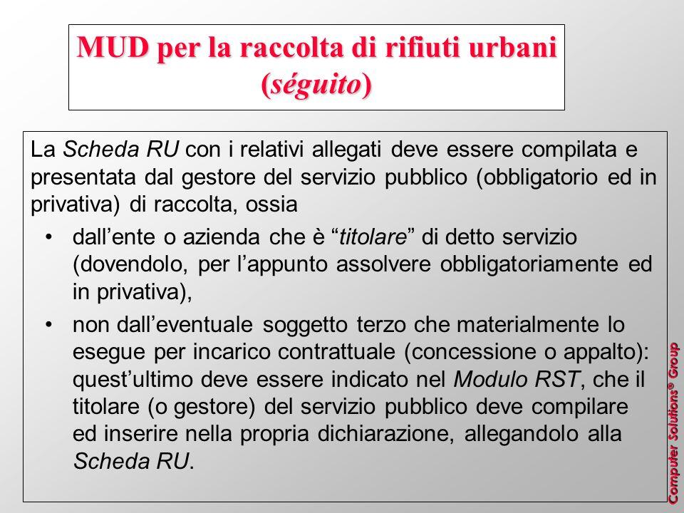 Computer Solutions ® Group MUD per la raccolta di rifiuti urbani (séguito) La Scheda RU con i relativi allegati deve essere compilata e presentata dal