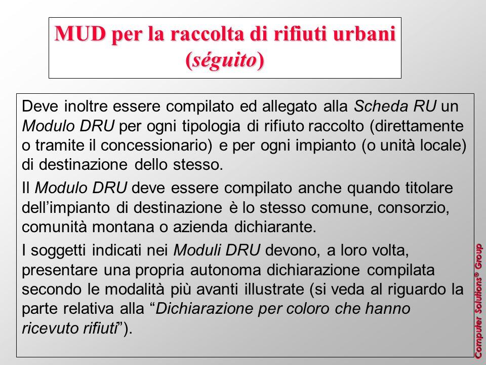 Computer Solutions ® Group MUD per la raccolta di rifiuti urbani (séguito) Deve inoltre essere compilato ed allegato alla Scheda RU un Modulo DRU per