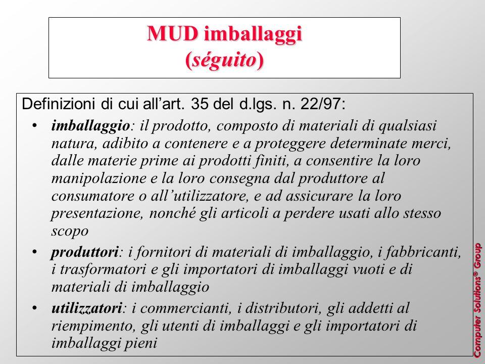 Computer Solutions ® Group MUD imballaggi (séguito) Definizioni di cui allart. 35 del d.lgs. n. 22/97: imballaggio: il prodotto, composto di materiali