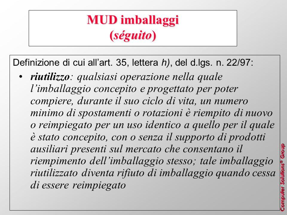Computer Solutions ® Group MUD imballaggi (séguito) Definizione di cui allart. 35, lettera h), del d.lgs. n. 22/97: riutilizzo: qualsiasi operazione n