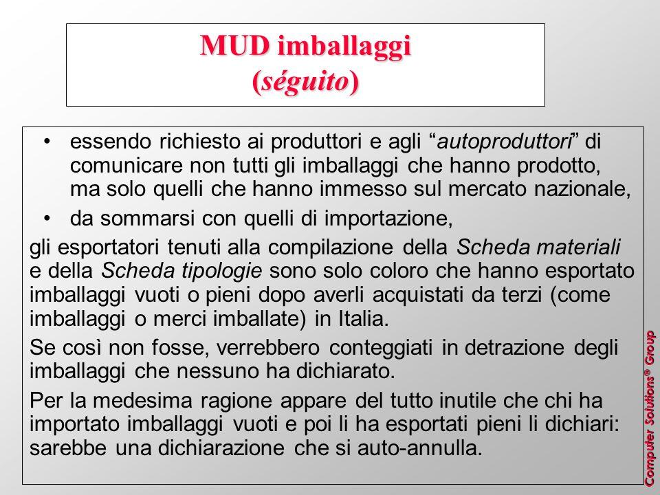 Computer Solutions ® Group MUD imballaggi (séguito) essendo richiesto ai produttori e agli autoproduttori di comunicare non tutti gli imballaggi che h