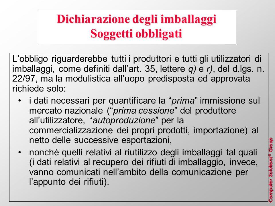 Computer Solutions ® Group Dichiarazione degli imballaggi Soggetti obbligati Lobbligo riguarderebbe tutti i produttori e tutti gli utilizzatori di imb