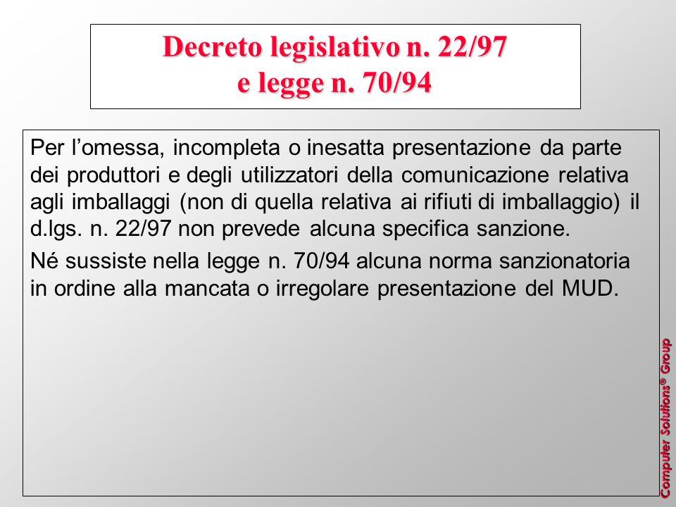 Computer Solutions ® Group Decreto legislativo n. 22/97 e legge n. 70/94 Per lomessa, incompleta o inesatta presentazione da parte dei produttori e de