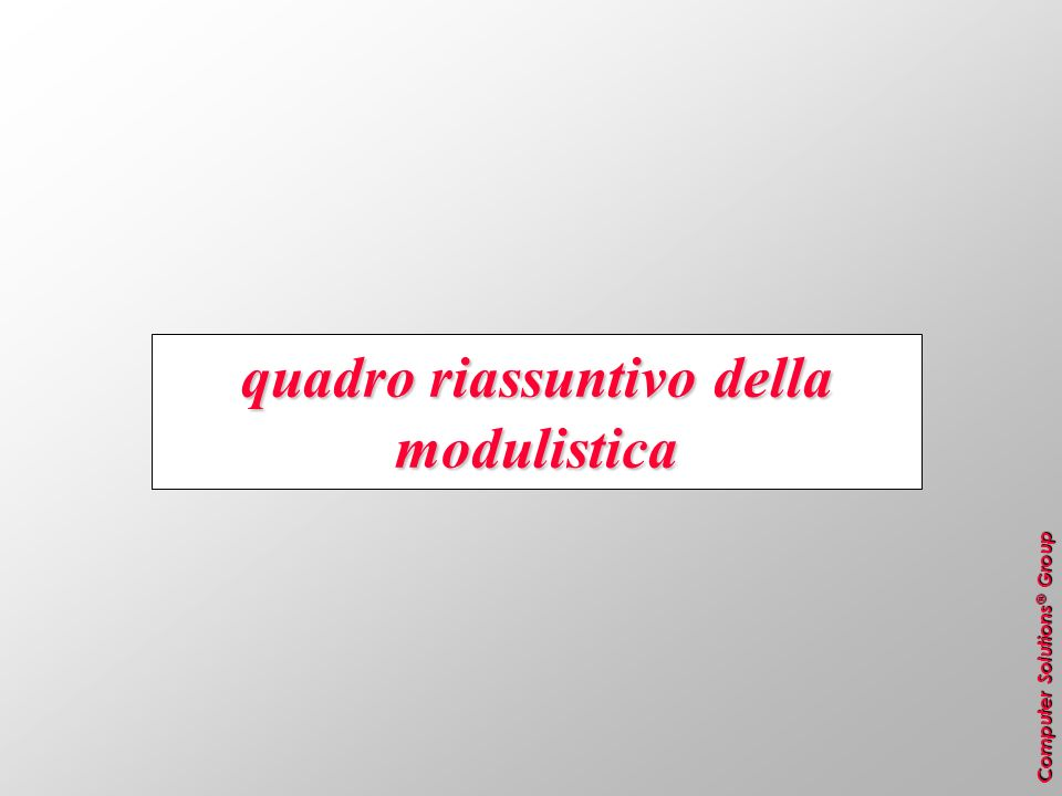 Computer Solutions ® Group quadro riassuntivo della modulistica