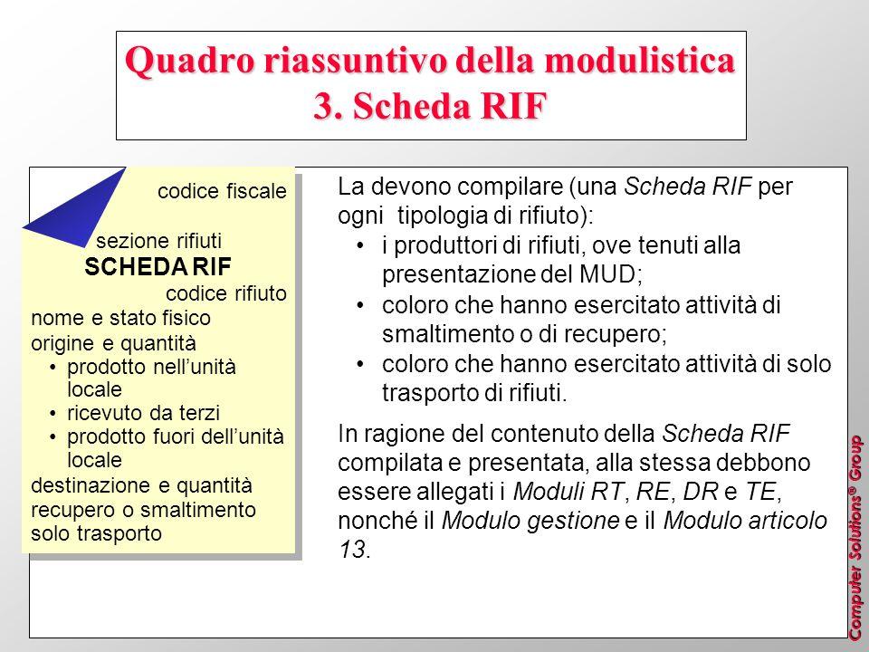 Computer Solutions ® Group Quadro riassuntivo della modulistica 3. Scheda RIF La devono compilare (una Scheda RIF per ogni tipologia di rifiuto): i pr