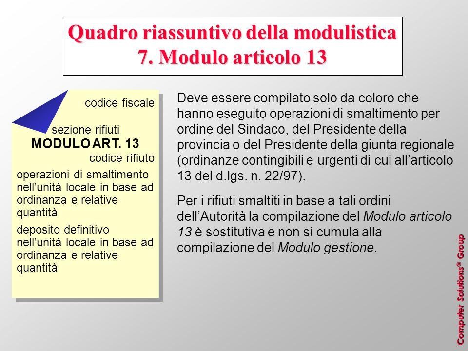 Computer Solutions ® Group Quadro riassuntivo della modulistica 7. Modulo articolo 13 Deve essere compilato solo da coloro che hanno eseguito operazio