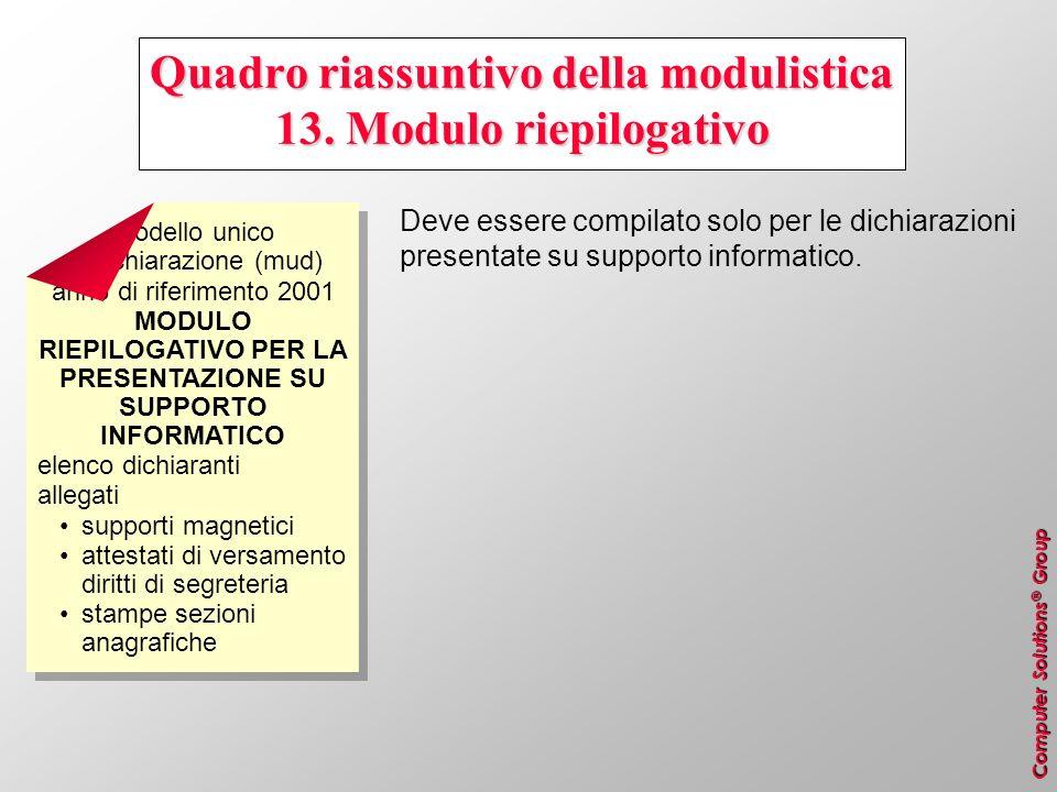Computer Solutions ® Group Quadro riassuntivo della modulistica 13. Modulo riepilogativo Deve essere compilato solo per le dichiarazioni presentate su