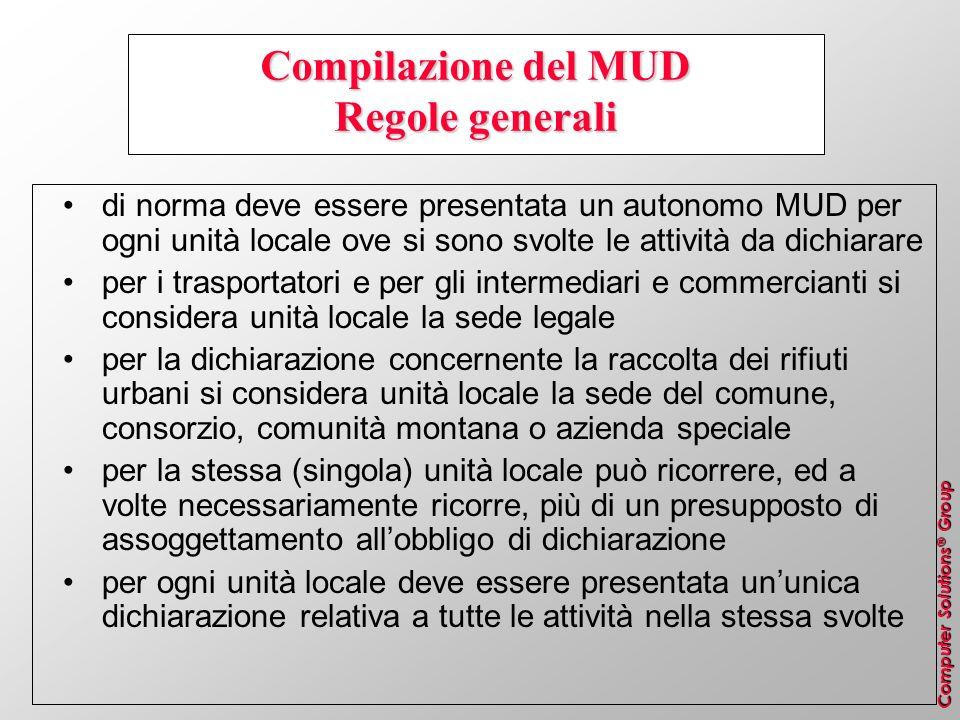 Computer Solutions ® Group Compilazione del MUD Regole generali di norma deve essere presentata un autonomo MUD per ogni unità locale ove si sono svol
