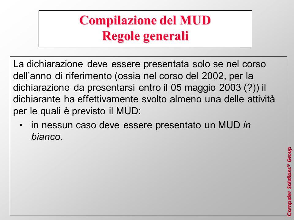 Computer Solutions ® Group Compilazione del MUD Regole generali La dichiarazione deve essere presentata solo se nel corso dellanno di riferimento (oss