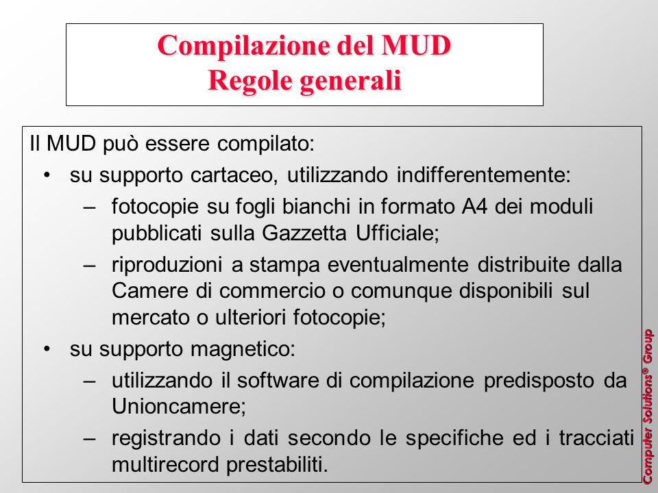 Computer Solutions ® Group Compilazione del MUD Regole generali Il MUD può essere compilato: su supporto cartaceo, utilizzando indifferentemente: –fot