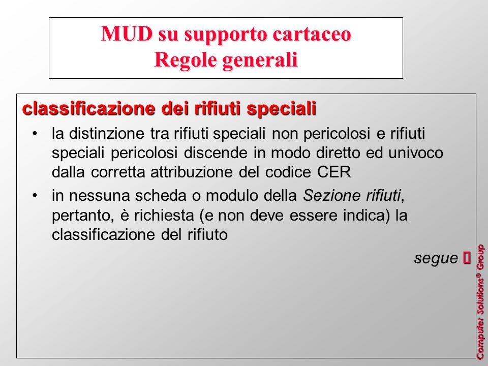 Computer Solutions ® Group MUD su supporto cartaceo Regole generali classificazione dei rifiuti speciali la distinzione tra rifiuti speciali non peric
