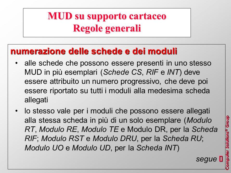 Computer Solutions ® Group MUD su supporto cartaceo Regole generali numerazione delle schede e dei moduli alle schede che possono essere presenti in u