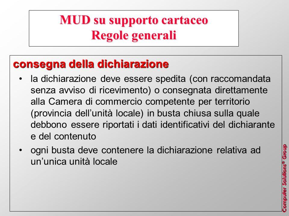 Computer Solutions ® Group MUD su supporto cartaceo Regole generali consegna della dichiarazione la dichiarazione deve essere spedita (con raccomandat