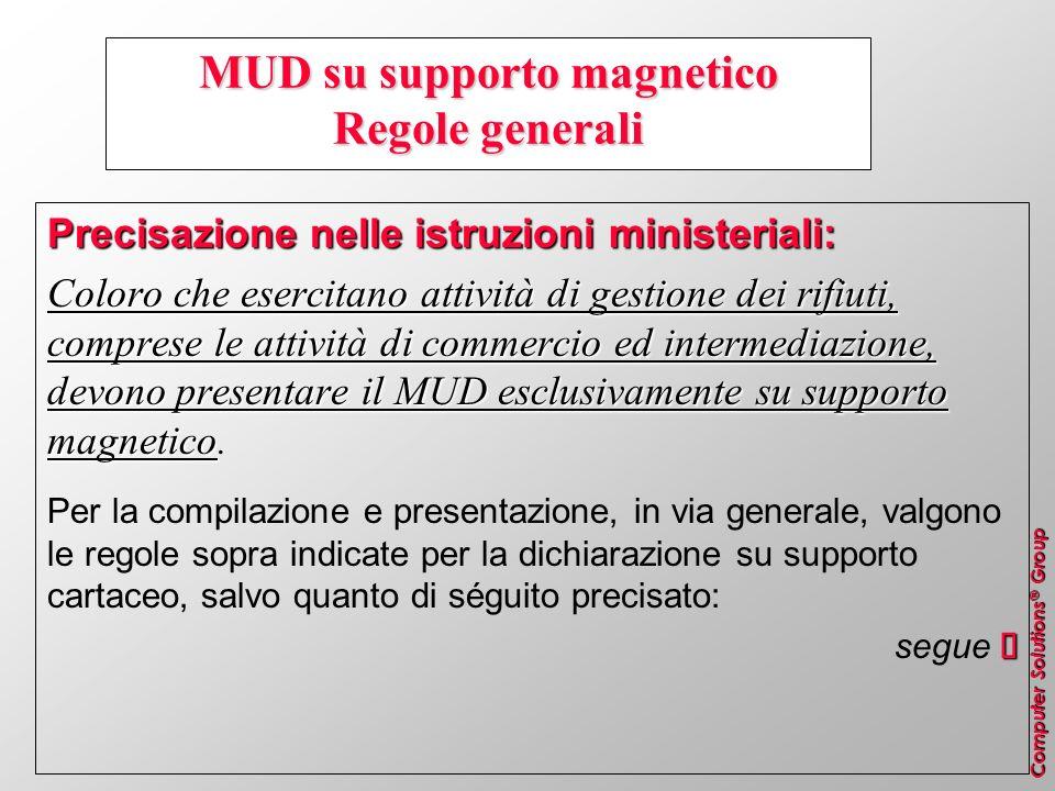 Computer Solutions ® Group MUD su supporto magnetico Regole generali Precisazione nelle istruzioni ministeriali: Coloro che esercitano attività di ges