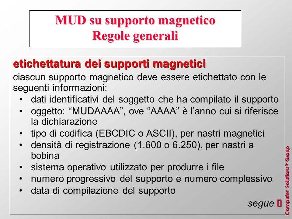 Computer Solutions ® Group MUD su supporto magnetico Regole generali etichettatura dei supporti magnetici ciascun supporto magnetico deve essere etich