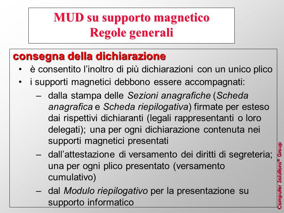 Computer Solutions ® Group MUD su supporto magnetico Regole generali consegna della dichiarazione è consentito linoltro di più dichiarazioni con un un
