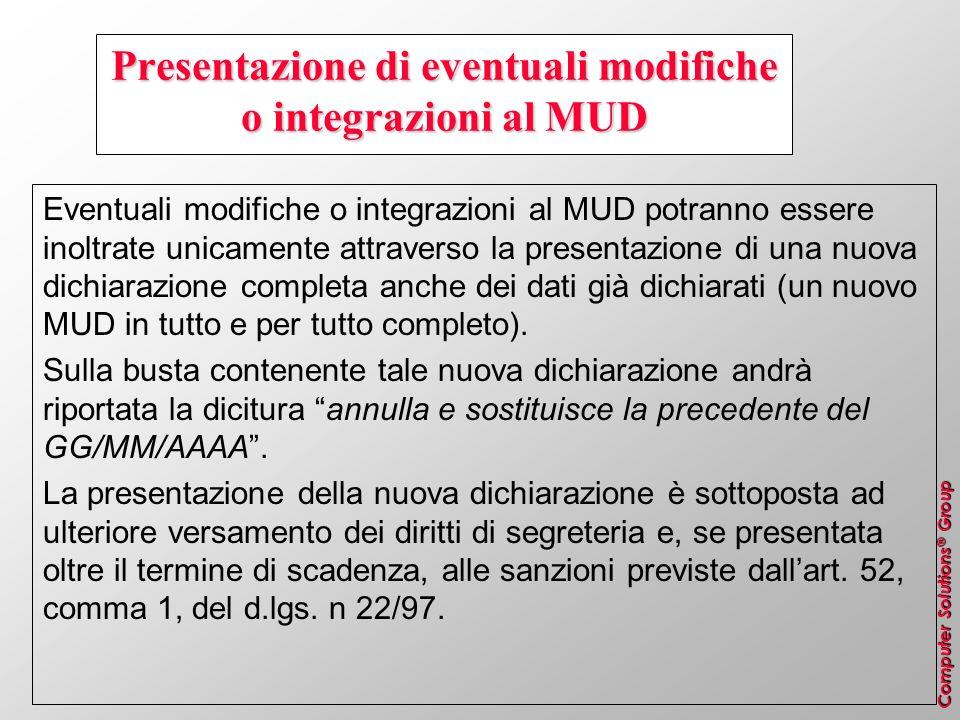 Computer Solutions ® Group Presentazione di eventuali modifiche o integrazioni al MUD Eventuali modifiche o integrazioni al MUD potranno essere inoltr