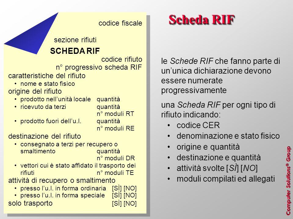 Computer Solutions ® Group Scheda RIF le Schede RIF che fanno parte di ununica dichiarazione devono essere numerate progressivamente una Scheda RIF pe