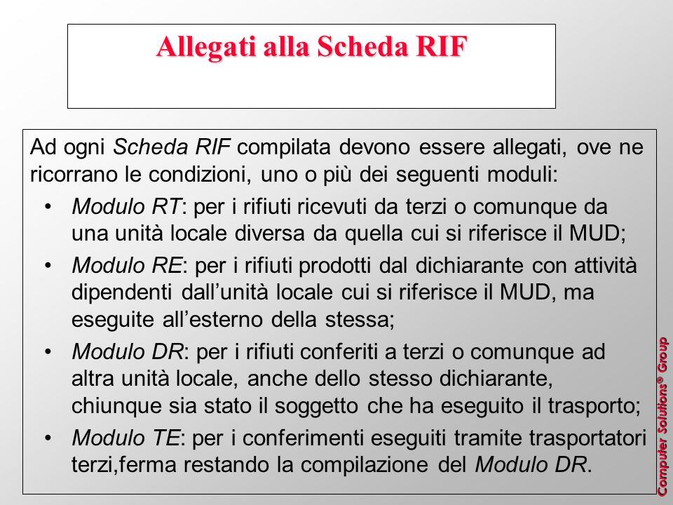 Computer Solutions ® Group Allegati alla Scheda RIF Ad ogni Scheda RIF compilata devono essere allegati, ove ne ricorrano le condizioni, uno o più dei