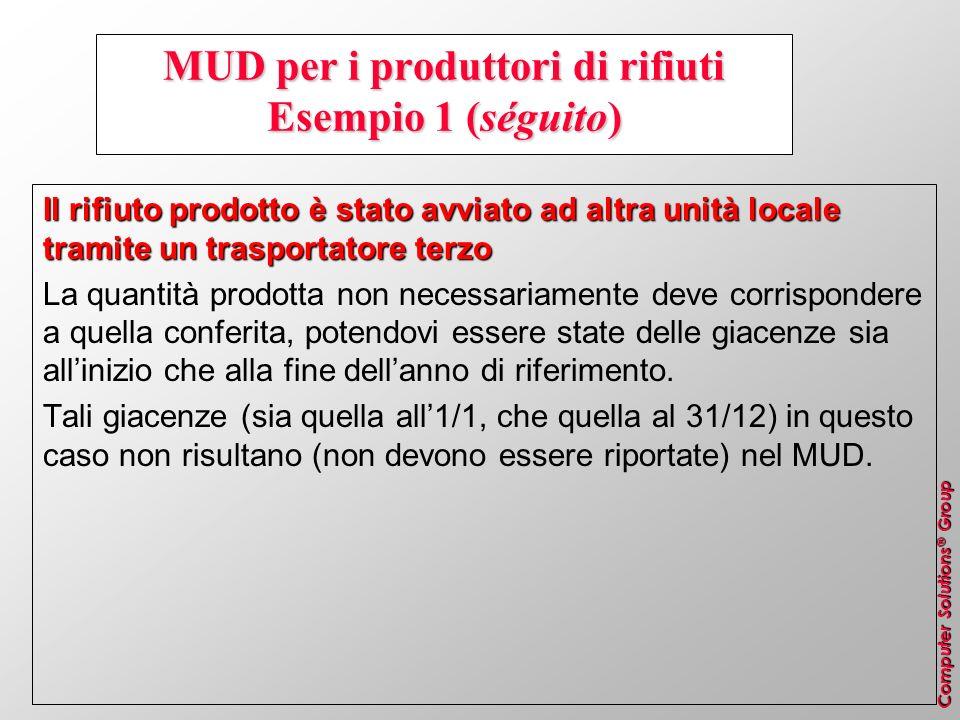 Computer Solutions ® Group MUD per i produttori di rifiuti Esempio 1 (séguito) Il rifiuto prodotto è stato avviato ad altra unità locale tramite un tr