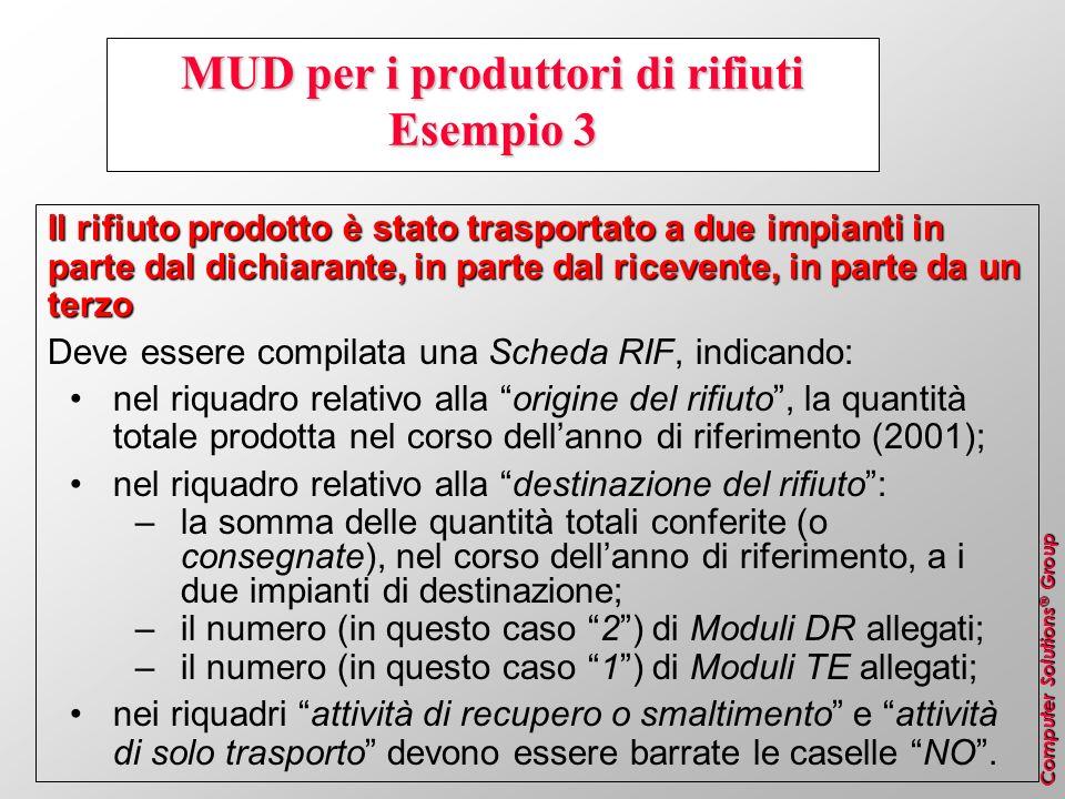 Computer Solutions ® Group MUD per i produttori di rifiuti Esempio 3 Il rifiuto prodotto è stato trasportato a due impianti in parte dal dichiarante,